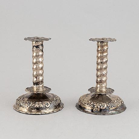 A pair of silver baroque style candlesticks, tesi, gothenburg 1948.