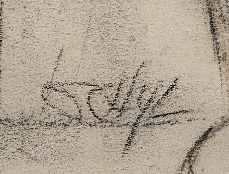 Jules schyl, pastel, signed.