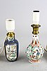 A set of two chinese kangxi and 18th century porcelain table lamps.