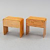 A matched pair of bedside tables, 1930's/40's.