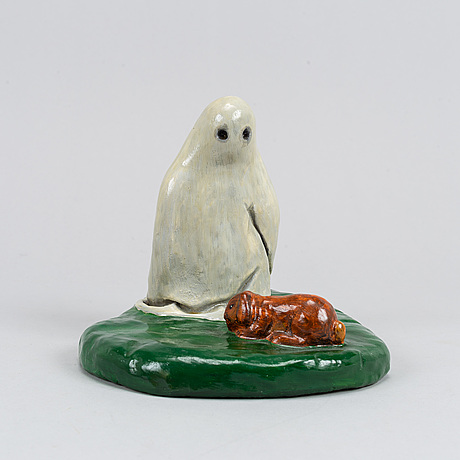 Richard johansson, sculpture, pinted and glazed cement, signed and dated 2003.
