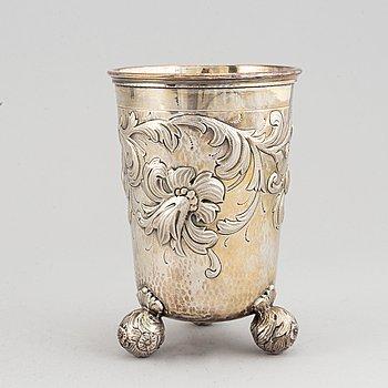 CG Hallberg, a baroque style silver beaker,  Stockholm 1948.