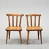 "An axel einar hjort ""utö"" pine chair & a nordiska kompaniet ""ekerö"" pine chair, 1930's and 1940's."