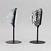 Two glass sculptures by erik höglund for boda, sweden.