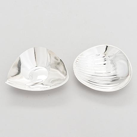 Tapio wirkkala, skålar, 2 st, silver, tw, kultakeskus, tavastehus 1967-68.