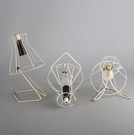 Nils strinning, a set of three bookshelf-lamps mid 1900s.