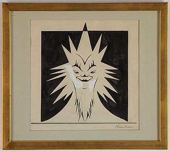 Einar Nerman, ink and gouache, signed.