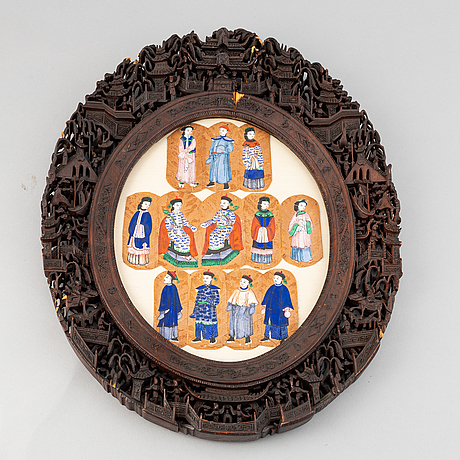Chinese school, twelve small portraits of manchu aristocrats in a carved cantonese frame, late qing dynasty.