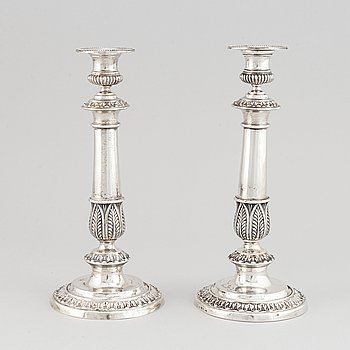 A pair of swedish empire silver candlesticks, mark of Adolf Zethelius, Stockholm 1828-30.