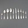A swedish silver part cutlery service, 'svensk spetsig', including cg hallberg, stockholm 1955. (110 pieces).