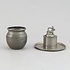A jam jar and an ink stand from firma svenskt tenn, dated 1930 and 1952.