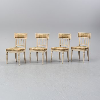 Four late Gustavian chairs, early 19th Century.