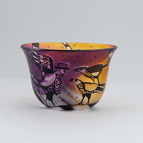 Bertil vallien, glass bowl, kosta boda, unique, signed and numbered.
