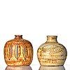 Anders bruno liljefors, vaser, 2 st, stengods, gustavsbergs studio, ca 1949-50.