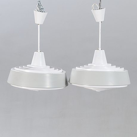 Lamps, sheet metal / metal, a pair, 1960s.