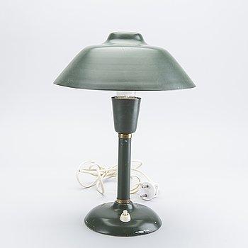 Table lamp, Gemi,  green sheet metal, 1950s.