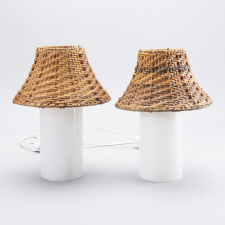 Table lamps a pair of plastic screen rattan, 60s.