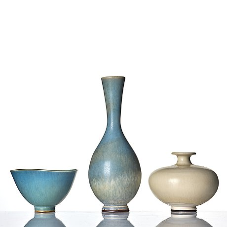 Berndt friberg, two stoneware vases and a bowl, gustavsberg studio, sweden 1955, 1978 and 1979.