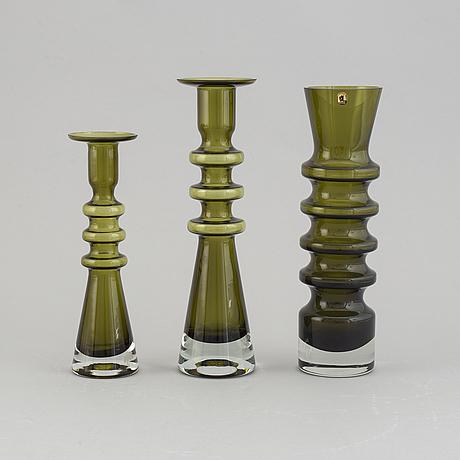 """Nanny still, three """"pagoda"""" glass vases,  riihimäen lasi oy, finland."""