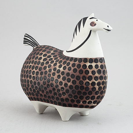 Stig lindberg, a stoneware 'springare' figurine, gustavsberg studio.