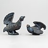 Gunnar nylund. two figurines, capercaillie and blackcock, rörstrand sweden.