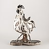 Janine janet, a an 1950:s fayance sculpture in the shape of a rooster by janine janet.