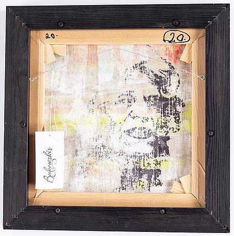 Kjartan slettemark, screentryck med akryl, signerad.