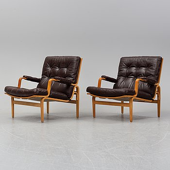 A pair of Bruno Mathsson 'Ingrid' easy chairs, DUX.