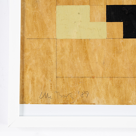 Olle borg, mixed media on paper signed and dated -89.