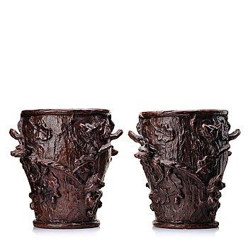 "48. Ernst Billgren, a pair of patinated bronze jardinières, ""I trädkronan"", 2002, ed 9/100 and 10/100."