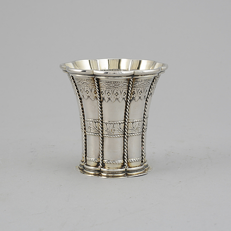 Three silver shakers, and a parcel-gilt silver beaker, swedish import mark.