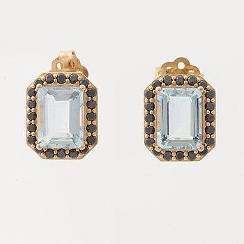 Aquamarine and black diamond earrings.