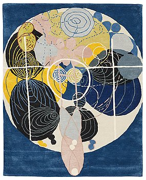 "24. Hilma af Klint, a carpet, ""Group III, no 5, The Large Figure Paintings"", 10/30, hand tufted, ca 201 x 162,5 cm."