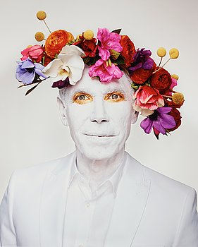 """187. Martin Schoeller, """"Jeff Koons with Floral Headpiece, New York, 2013""""."""