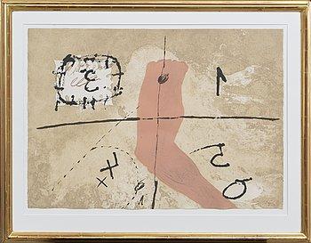 Antoni Tàpies, färgetsning och akvatint med plastbehandling signerad och numrerad 27/50.