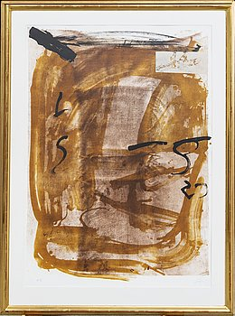 Antoni Tàpies, color lithograph signed and no. HC. Edited by Maeght Paris.