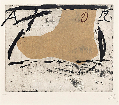 Antoni tàpies, etching with plastic and glued paper, signed and numbered 32/50.