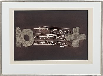 Antoni Tàpies, etching with embossing signed and numbered 10/75.
