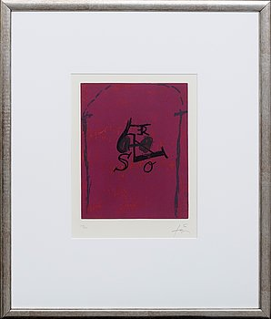 Antoni Tàpies, etching with plastic material signed and numbered 18/50.