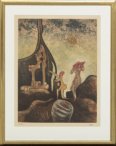Roberto matta, coloured etching, signed and numbered 37/100.