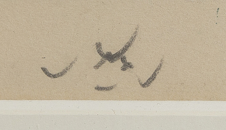 Roberto matta, coloured etching, signed and essai.