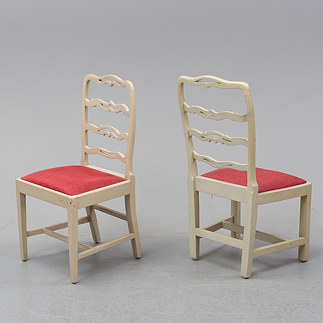 Fourteen matched late gustavian style chairs, 19- and 20th century.