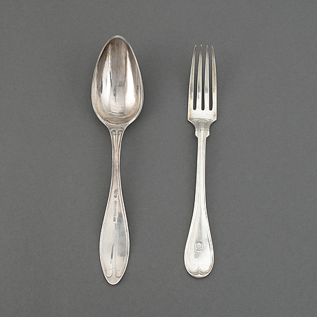 12 swedish silver dinner forks and 6 dinner spoons.