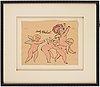 Andy warhol, handkolorerad offsetlitografi. 1955-56. signerad i svart tusch av konstnärens mamma julia warhola.
