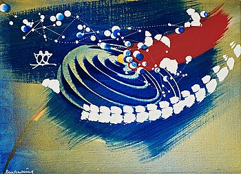 "607. Carl Fredrik Reuterswärd, ""Tvillingarna vid blågul galax""."