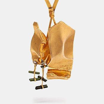 "Björn Weckström, A 14 K gold necklace ""Meriba's well"" with tourmalines. Lapponia 1073."