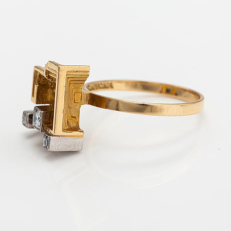 "Björn weckström, sormus ""aurinkotemppeli"", 18k kultaa, timantteja n. 0.10 ct yht. lapponia 1975."