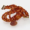 Necklace faceted carnelian approx 8-10 mmand 14k gold (the pendant), clasp metal, approx 46 cm.