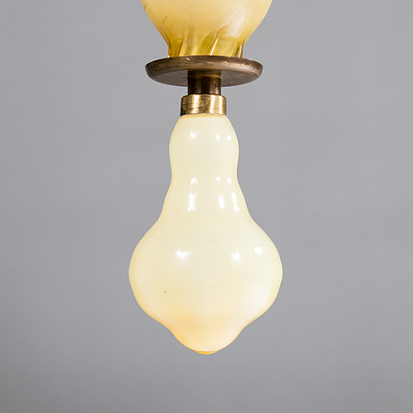 Paavo tynell & gunnel nyman, a 1930s glass pendant light for taito, finland.