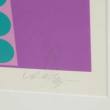Victor vasarely, silkscreen in colours, signed 104/295.